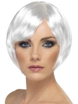 Babe Wig - White For Sale - Babe Wig, White, Short Bob with Fringe | The Costume Corner Fancy Dress Super Store
