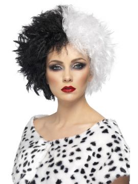 Evil Madame Wig For Sale - Evil Madame Wig, Black and White, Short, Curly | The Costume Corner Fancy Dress Super Store