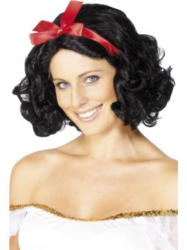Fairytale Wig For Sale - Fairytale Wig, Black, with Red Ribbon, Short and Wavy | The Costume Corner Fancy Dress Super Store