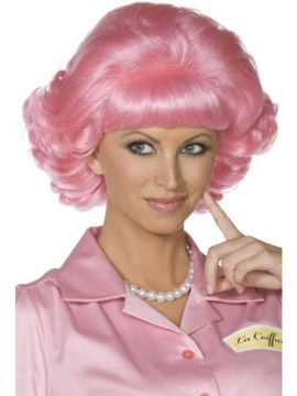 Frenchy Wig For Sale - Frenchy Wig, Pink, Short Curly | The Costume Corner Fancy Dress Super Store
