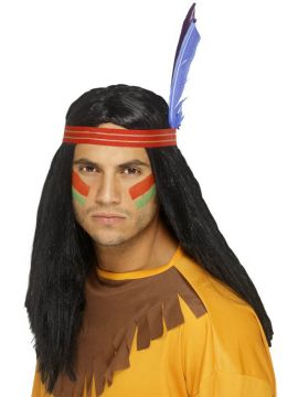 Indian Brave Wig For Sale - Indian Brave Wig, Black, Long, Straight, with Headband and Feather | The Costume Corner Fancy Dress Super Store