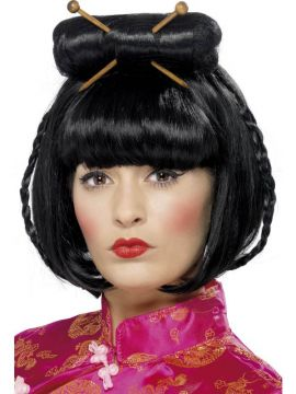 Oriental Lady Wig For Sale - Oriental Lady Wig, Black, Mid Length with Chopsticks | The Costume Corner Fancy Dress Super Store