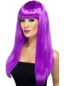 Babelicious Wig - Purple For Sale - Babelicious Wig, Purple, Long, Straight with Fringe | The Costume Corner Fancy Dress Super Store