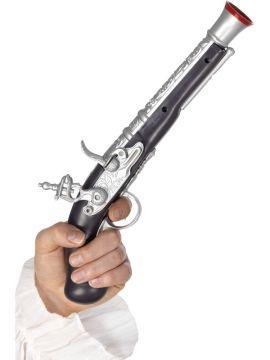 Pirate Pistol - Silver For Sale - Pirate Pistol, Silver, 30cm, Realistic | The Costume Corner Fancy Dress Super Store