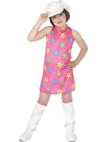 60s Dress For Sale - Pink 60s mod dress with groovy flower print.   The Costume Corner Fancy Dress Super Store