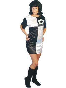 60's Mini Shift Dress For Sale - 60's Mini Shift Dress Black & White | The Costume Corner Fancy Dress Super Store