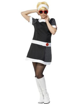 60s Mod Chic For Sale - 60s Mod Chic Costume, with Dress, Headband and Glasses | The Costume Corner Fancy Dress Super Store