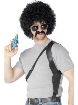 70s Cop Kit For Sale - 70s Cop Kit, Black, Curly Wig, Holster, Gun, Specs, Tash and Sideburns | The Costume Corner Fancy Dress Super Store