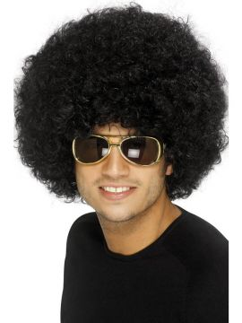 Afro Wig - Black For Sale - 70's Funky Afro Wig, Black | The Costume Corner Fancy Dress Super Store