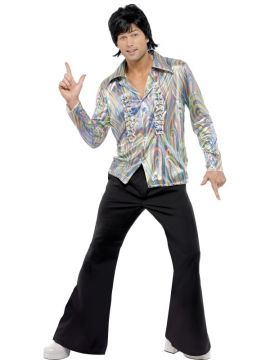 70s Retro Costume For Sale - 70s Retro Costume, Black, with Psychedelic Pattern, Shirt and Flares, in Display Bag | The Costume Corner Fancy Dress Super Store