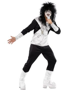 Rocker For Sale - Includes black and silver jumpsuit. Pair with a mad black wig and black and white facepaint and you'll be ready to rock with Kiss! Or go for a Bowie look with plenty of glitter... | The Costume Corner Fancy Dress Super Store