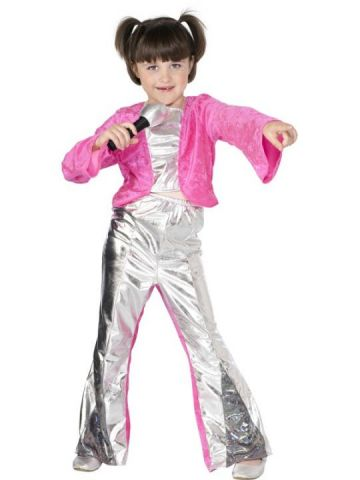 80s Child For Sale - 80s Popstar Child. Includes glam silver and pink crop top and high waisted matching trousers. | The Costume Corner Fancy Dress Super Store
