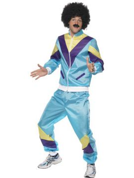 Shell Suit 80s For Sale - 80s Height of Fashion Shell Suit Costume, Blue, with Jacket and Trousers | The Costume Corner Fancy Dress Super Store
