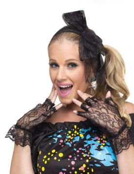 80s Pop Star Instant Kit For Sale - Includes: Headband, fingerless black lace gloves and cross earrings. | The Costume Corner Fancy Dress Super Store