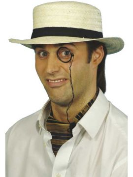 Straw Boater Hat For Sale - Straw Boater Hat, Cream, with Band | The Costume Corner Fancy Dress Super Store