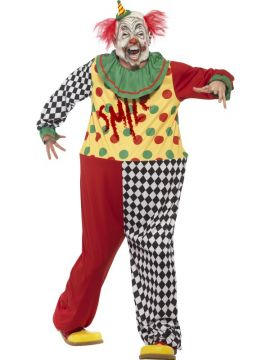 Adult Sinister Clown For Sale - Contains Hooped Jumpsuit & Latex Full Overhead Mask | The Costume Corner Fancy Dress Super Store