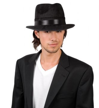Al Capone Hat - Black For Sale - Black Velvet Al Capone Hat | The Costume Corner Fancy Dress Super Store
