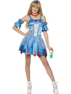 Alice In Wonderland For Sale - Teen Rebel Toons Alice In Wonderland. Rival the Queen of Hearts in this blue dress with red heart trim, matching armbands, choker and headband. | The Costume Corner Fancy Dress Super Store