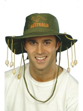 Australian Hat For Sale - Australian Hat, Green, with Corks | The Costume Corner Fancy Dress Super Store