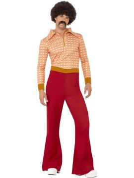Authentic 70's Guy For Sale - Red with top & high waisted trousers | The Costume Corner Fancy Dress Super Store