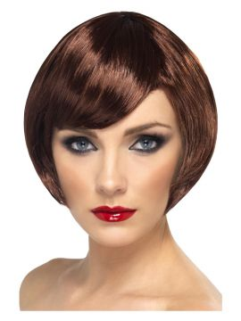 Wig - Babe - Brown For Sale - Babe Wig, Brown, Short Bob with Fringe | The Costume Corner Fancy Dress Super Store