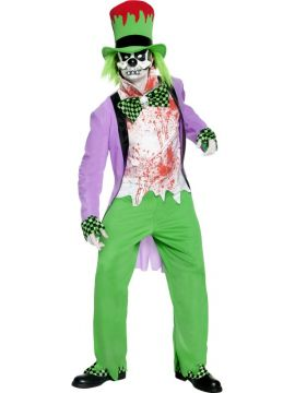 Bad Hatter Costume For Sale - Bad Hatter Costume, Top, Trousers, Hat, Shirt, Mask, Shoe Covers & Gloves, in Display Bag | The Costume Corner Fancy Dress Super Store