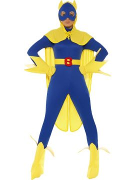 Bananaman For Sale - Bananaman Female Costume - Blue and Yellow, Catsuit, Mask, Cape, Gloves and Bootcovers | The Costume Corner Fancy Dress Super Store