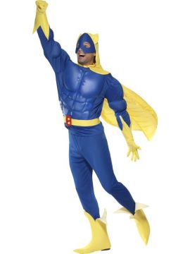 Bananaman For Sale - Bananaman EVA Chest Costume, Blue and Yellow, Top, Trousers, Cape, Belt, Gloves & Boot Covers. | The Costume Corner Fancy Dress Super Store