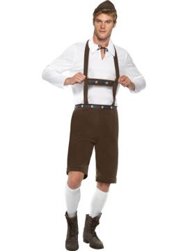 Bavarian Man For Sale - Bavarian Man Costume, Brown, Lederhosen Shorts with Braces, Top and Hat. | The Costume Corner Fancy Dress Super Store