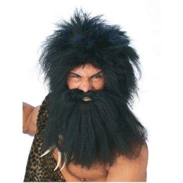 Prehistoric Man Beard & Wig Set For Sale - Black Pre-Historic Beard & Wig Set | The Costume Corner Fancy Dress Super Store
