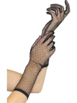 Lace Gloves For Sale - Midlength Lace Black Gloves with Polka Dot Print. | The Costume Corner Fancy Dress Super Store