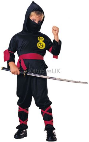 Black Ninja For Sale - Hooded shirt, face scarf, pants, waist sash, arm & leg ties. | The Costume Corner Fancy Dress Super Store