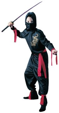 Black Ninja Boy For Sale - Hooded shirt, face mask, belt, arm & leg ties & trousers | The Costume Corner Fancy Dress Super Store