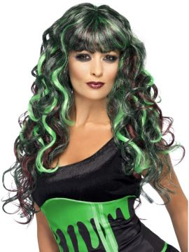 Blood Drip Monster Wig For Sale - Blood Drip Monster Wig, Long Curly with Fringe, Green and Purple, in Display Box | The Costume Corner Fancy Dress Super Store