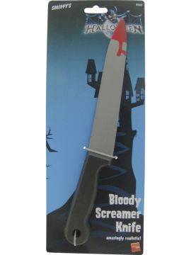 Blood Stained Screamer Knife For Sale - Blood Stained Screamer Knife, Large, Plastic, 33 cm / 13 inches | The Costume Corner Fancy Dress Super Store