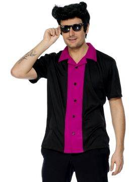 Bowling shirt For Sale - 50S Style Bowling Shirt, Pink and Black | The Costume Corner Fancy Dress Super Store