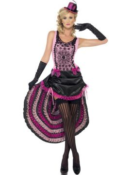 Burlesque Beauty Costume For Sale - Burlesque Beauty Costume, Dress with Drawstring Skirt, Lace and Bow Detail, in Display Bag | The Costume Corner Fancy Dress Super Store