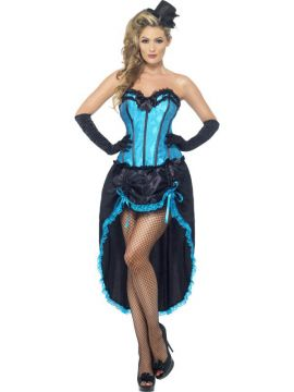 Burlesque Dancer - Blue For Sale - Burlesque Dancer, Blue, with Corset and Adjustable Skirt | The Costume Corner Fancy Dress Super Store
