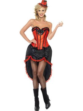 Burlesque Dancer - Red For Sale - Burlesque Dancer Costume, Red, with Corset and Adjustable Skirt | The Costume Corner Fancy Dress Super Store