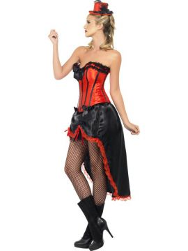 Burlesque Dancer For Sale - Burlesque Dancer Costume, Red, with Corset and Adjustable Skirt | The Costume Corner Fancy Dress Super Store
