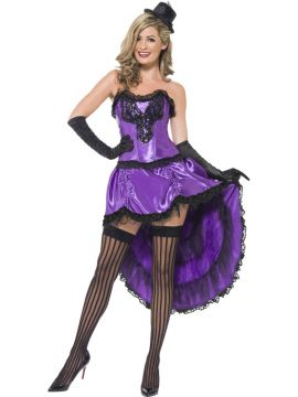 Burlesque Glamour Costume For Sale - Burlesque Glamour Costume, Purple, with Corset and Adjustable Skirt, in Display Bag | The Costume Corner Fancy Dress Super Store