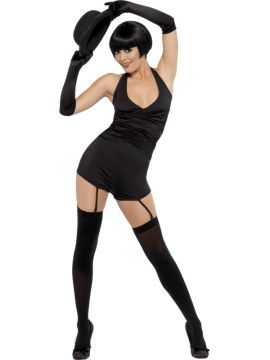 Cabaret For Sale - Cabaret Costume, Black, Hot Pants Jumpsuit, Gloves and Stockings | The Costume Corner Fancy Dress Super Store