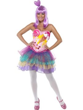 Katy Perry - Candy Queen For Sale - Candy Queen Costume, Latex Bodice with Dress. Katy Perry style. Wig also available. | The Costume Corner Fancy Dress Super Store