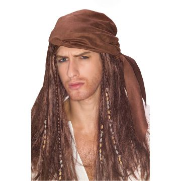 Caribbean Pirate Wig For Sale - Caribbean Pirate Wig with Beads and Distressed Suede Do Rag. | The Costume Corner Fancy Dress Super Store