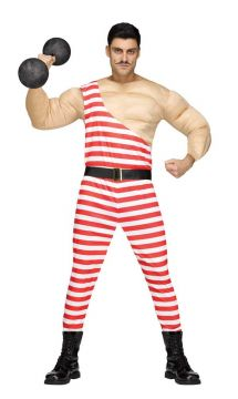 Carny Muscle Man For Sale - Muscle shirt, jumpsuit with attached belt | The Costume Corner Fancy Dress Super Store