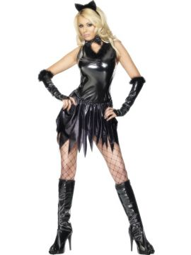 Cat For Sale - Cat Costume, Black, With Leotard, Skirt, Ears, Boot Covers, Gloves and Bow Tie, Pvc | The Costume Corner Fancy Dress Super Store