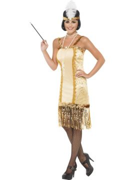 Charleston Flapper For Sale - Charleston Flapper, Gold, With Dress and Headpiece | The Costume Corner Fancy Dress Super Store