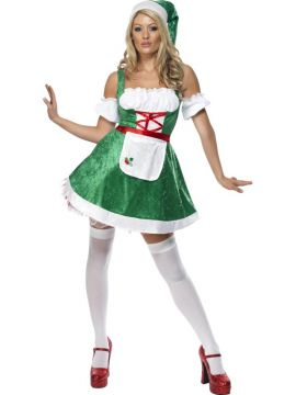 Christmas Maid For Sale - Fever Christmas Maid Costume, Green, With Dress, Apron, Sleeves and Hat | The Costume Corner Fancy Dress Super Store