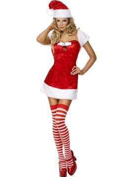 Christmas Present Red For Sale - Fever Xmas Present Costume, Red, Includes Dress With Stole, Hat and Stockings | The Costume Corner Fancy Dress Super Store