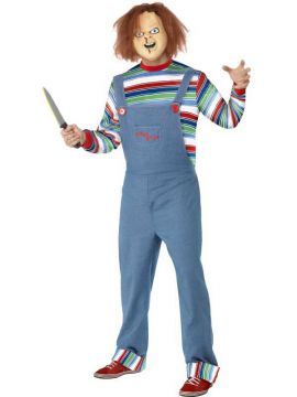Chucky For Sale - Chucky Costume - Men's, includes Top, Dungarees and Mask | The Costume Corner Fancy Dress Super Store